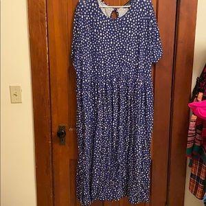 Blue spotted smock dress